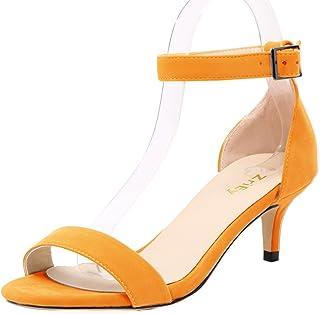 7f68a23bd49e Amazon.com  Orange - Heeled Sandals   Sandals  Clothing