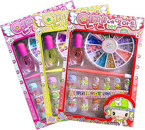 SKS Designer Nail-Art Set for Girls - with Artificial Nails - Set of 3 Assorted Packs