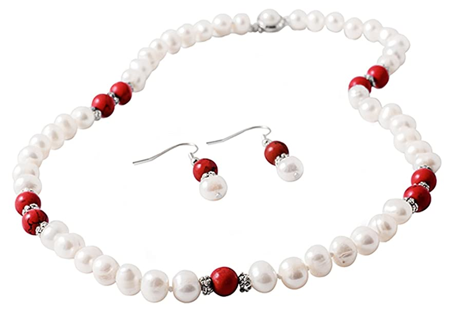 Julie Jewelry | Freshwater Cultured 8 mm Pearl Set | Earrings & Necklace