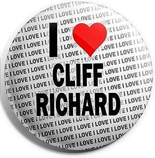 Grand badge à épingle I Love Cliff Richard 75 mm – Cadeau – Anniversaire – Noël