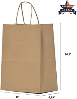 Brown Paper Bags with Handles – 50 Pcs 8x4.75x10.5 inches Bulk Gift Bags, Shopping Bags, Party Bags, Merchandise Bags, Goody Bags, Cub, Favor Bags, Business Bags, Kraft Bags, Retail Bags