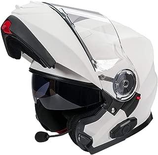 Bilt Techno 2.0 Evolution Sena Bluetooth Drop Down Sun Shield Vented DOT Sport Bike Street Motorcycle Modular Helmet - Matte White XL