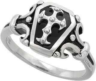 Stainless Steel Coffin Ring Cross Biker Rings for Men 1 inch Long, Sizes 9-15