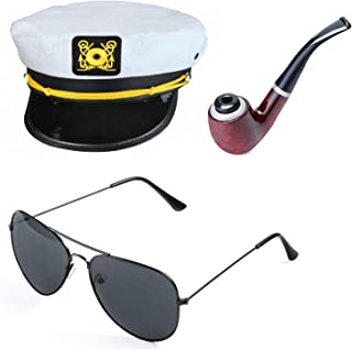 Yacht Captain Hat Costume Accessories Set Sailor Hat with Corn Cob Pipe & Aviator Sunglasses
