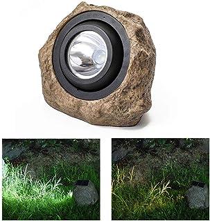 Hamkaw Rock Solar Lights Outdoor Garden, [White&Warm White Light] LED Solar Powered Light IP65 Waterproof Outdoor Spotlight Up&Down Adjustable 45 Degree Stone Light for Yard Decoration