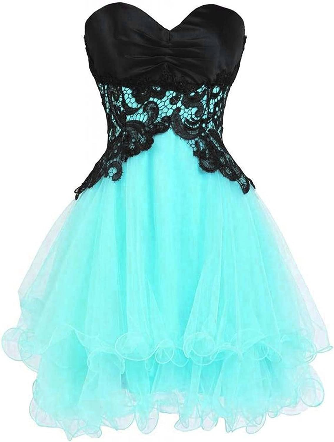 Bonnie clothing Women's Short Cute Lace and Tulle Lace Up Sleeveless Party Prom Dress