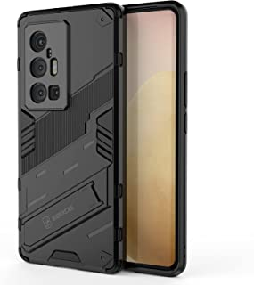 حافظة OIATROE لجهاز Vivo X70 Pro Plus، حامل عمودي وأفقي، مضاد للسقوط، نمط الشريق، حماية الكاميرا - سوداء