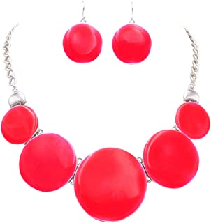 Rosemarie Collections Women's Neon Colored Enamel Disc Statement Necklace Drop Earrings Set