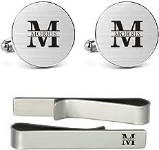 MUEEU Engraved Cufflinks Tie Clip Personalised Name Big Initials Handmade Groom Wedding Cuff Links