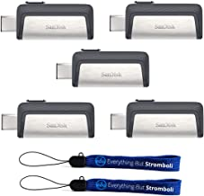 SanDisk Ultra 128GB Dual Drive USB Type-C (Five Pack Bundle) Works with Smartphones, Tablets, and Computers (SDDDC2-128G-G46) Plus (2) Everything But Stromboli (TM) Lanyard