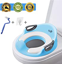 Potty Training Seat for Kids Boys Girls Toddlers Toilet Seat for Baby with Cushion Handle Backrest Toilet Trainer for Round and Oval Toilets (Blue) ilin