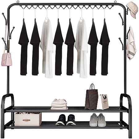 YOOKEA Porte-Vêtements avec Barre Supérieure et 7 Crochets, Portant a Vetement Debout Multifonctionnels pour Vêtements et Chaussures, Charge Maximale 60 kg, 148 X 120 X 34 cm, Noir