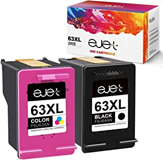 ejet Remanufactured Ink Cartridge Replacement for HP 63XL 63 XL to use with OfficeJet 3830 Envy 4520 4512 Officejet 4650 5255 Deskjet 1112 3634 3632 Printer (1 Black, 1 Color)
