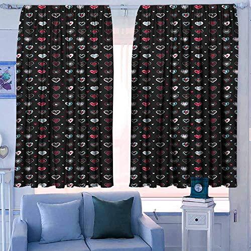 Lovii verduisterende gordijnen voor slaapkamer verduistering en thermische isolerende Draperies Doodle Thee en Koffie met katten Cupcakes Kaarsen Yummy Keuken Croissant Illustratie Zwart Wit