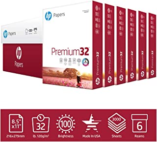 HP Printer Paper Premium 32lb, 8.5x11, 6 Ream Case, 3000 Sheets, Made in USA, Forest Stewardship Council (FSC) Certified Resources, 100 Bright, Acid Free, Engineered for HP Compatibility, 113100C