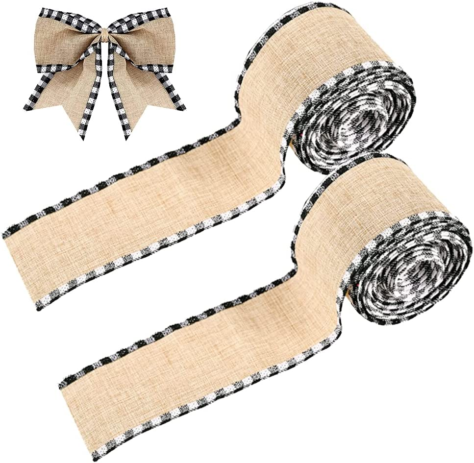 2 Rolls Black and White Buffalo Plaid Wired Edge Ribbons, Christmas Burlap Fabric Craft Ribbon Natural Wrapping Ribbon Rolls for for DIY Craft Bows Wrapping Christmas Decorations, 2.5 x 216 inch : Everything Else