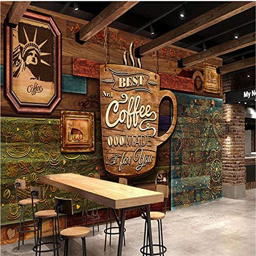 YIERLIFE Murales Decoración 3D pegatinas de pared - Patrón de alfabeto de textura de madera de café vintage - Murales De Pared 3D Personalizados Wallpaper Comics Papel Tapiz Fotográfico Niños Niños Do