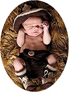 Newborn Monthly Baby Photo Props Outfits Cowboy Hat Shorts Shoes Crochet Knitted Set for Boys Photography Shoot