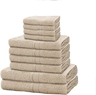 Gaveno Cavailia 10 Pack Toronto Bale Set with 4 Face 4 Hand and 2 Bath Towels 100% Cotton-Mocha