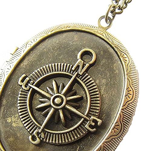 chaosong shop Brújula ec-e, medallón de brújula de latón, brújula colgante joyería, brújula foto medallón