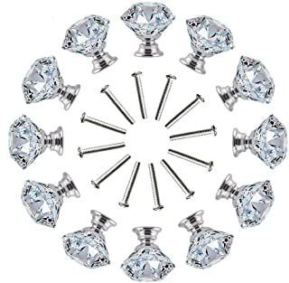 12Pcs Clear Crystal Glass Diamond Shape Door Knob Drawer Pull Handle for Cabinet, Drawer, Cupboard, Wardrobe Home Decorati...