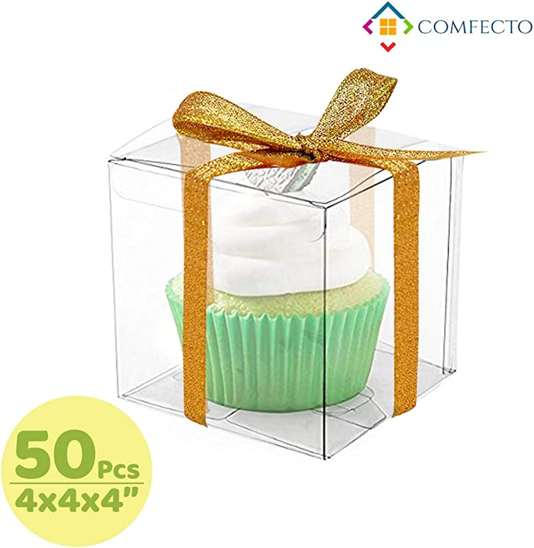 COMFECTO Clear Boxes For Favors 4x4x4 50 Pcs Transparent Giftbox For Macaron Cupcake Candy Cookies Ornament GiftsWedding Party Baby Shower Single Individual Packaging For Display