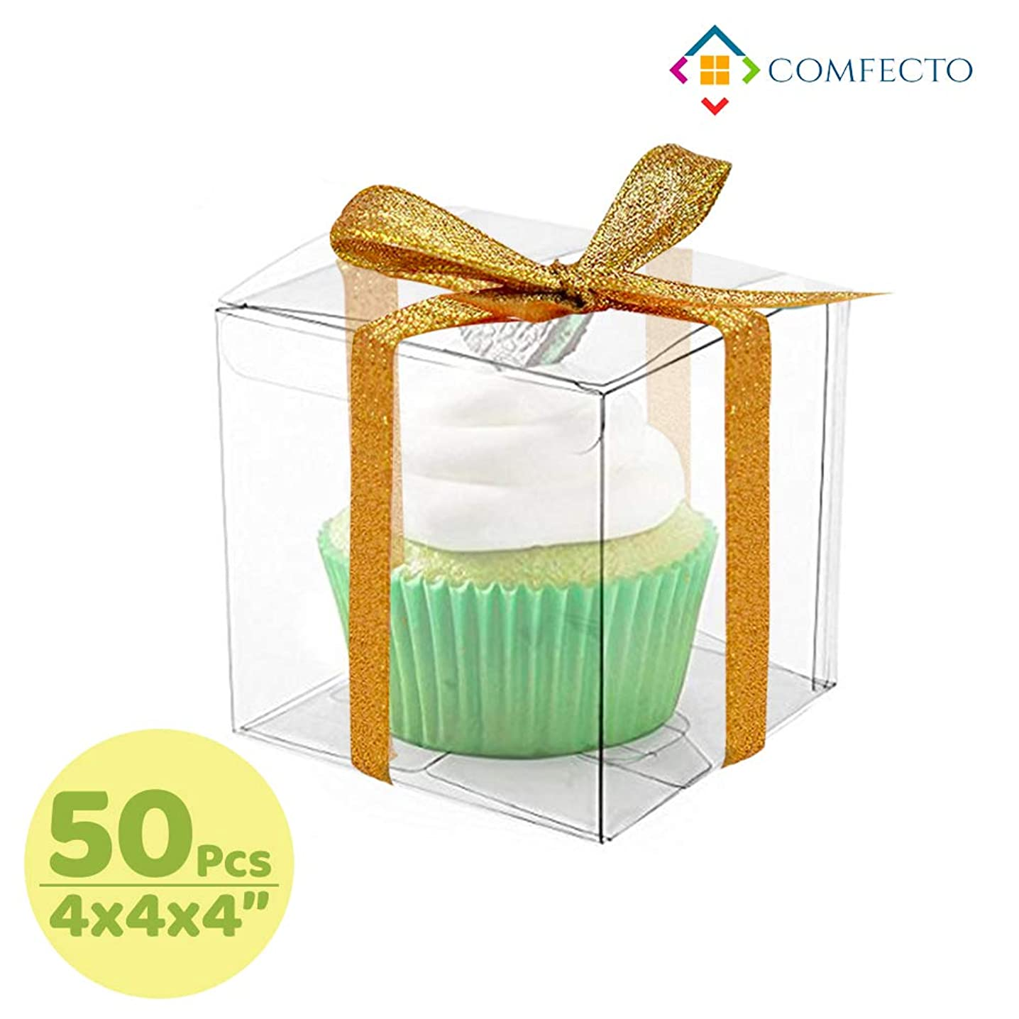 COMFECTO Clear Boxes for Favors 4x4x4, 50 pcs Transparent Giftbox for Macaron Cupcake Candy Cookies Ornament GiftsWedding Party Baby Shower, Single Individual Packaging for Display