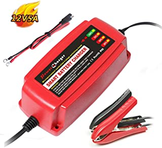 Yishen 12Volt 5A Battery Charger 4-Stage CE Approved Smart Fast AGM/SLA/Gel Sealed Lead Acid Battery Charger Electric Lawn Mower or Garden