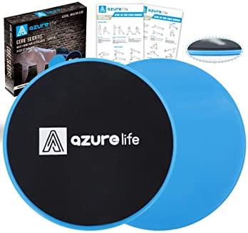 A AZURELIFE Exercise Core Sliders, Dual Sided Exercise Gliding Discs Use on Carpet or Hardwood Floors, Light and Port...