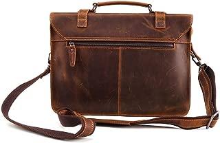 Men Laptop Bag Genuine Leather Computer Office Shoulder Bag Men's Bag Handbag Crazy Horse Leather Briefcase (Color : Brown, Size : 15 inches)