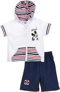 1194c58c5f539 Ensemble Short et Sweat Manches Courtes bébé garçon Mickey Blanc et Gris de  3 à 24mois