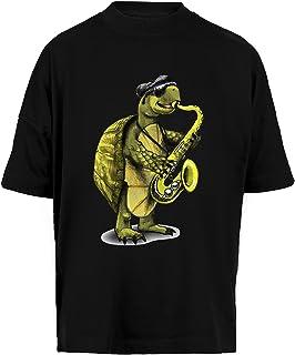 Tortuga Jugando Los Saxofón Unisex Camiseta Holgada Hombre Mujer Mangas Kortas - Unisex Baggy T-Shirt Black