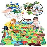 kidpal Dinosaur Toy Figures Activity Play Mat & Trees, Dinosuars Painting Set, DIY Art & Craft Set, Create a Dino World Including T-Rex, Triceratop etc, Toy for Age 3 4 5 6 Year Old Boy Kid