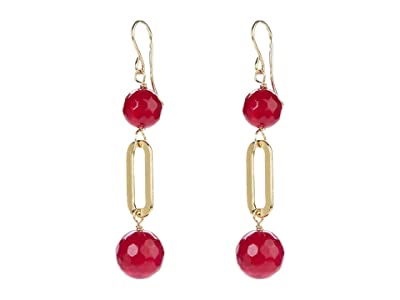 Dee Berkley Ball and Chain Earrings with Ruby Agate