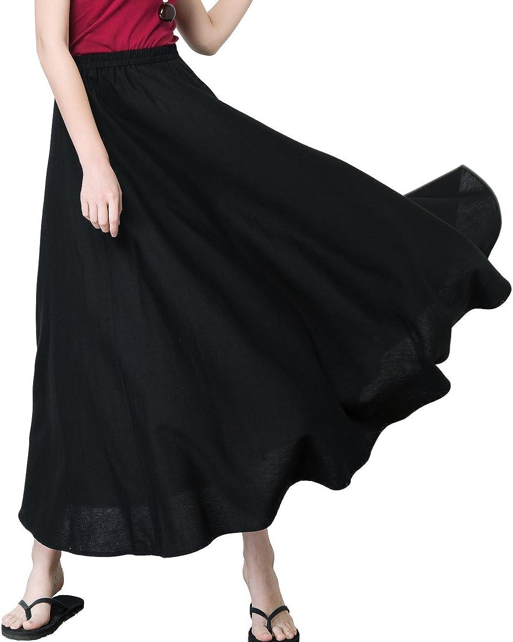Femirah Women's Summer Casual Cotton Linen Long Skirts 12 Colors