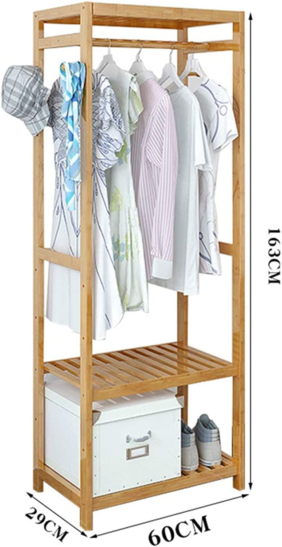 JIAYING Coat Racks Coat Rack, Floor-standing Solid Wood Hanger Bedroom Living Room Corridor Multi-function Hanger Hanging Rod Rack Multiple Storage Space Simple Wood color 3 Lengths Selectable Multifu