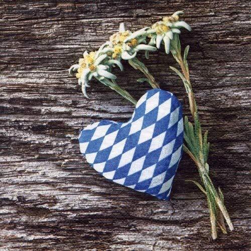 20 Servietten Edelweiß an Herz als Tischdeko für bayrische Abende und Oktoberfest mit einem Herz aus bayrischer Raute 33x33cm