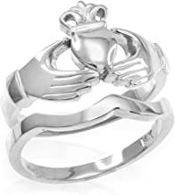 Solid 925 Sterling Silver Two-Piece Claddagh Engagement and Wedding Ring Set