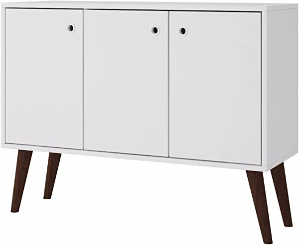 Mid Century Modern Wood Glossy Cabinet Buffet With 3 Shelves And 3 Doors Includes Modhaus Living Pen White