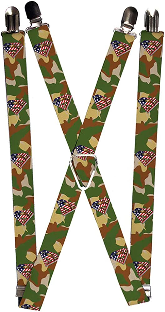 Buckle-Down Suspenders-Americana Superman Shield/camo Olive