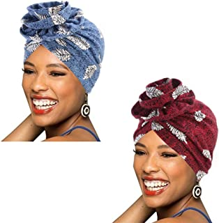 1Pack / 2Packs Women Turban African Pattern Cotton Knotted peas pre-Tied hat Makeup Cap Hair Loss Cap