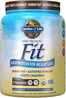 Garden of Life Organic Meal Replacement - Raw Organic Fit Powder, Chocolate - High Protein for Weight Loss (28g) Plus Fiber Probiotics & Svetol, Organic & Non-GMO Vegan Nutritional Shake, 10 Servings