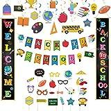 Decoración de matrícula escolar conjunto guirnalda regreso escuela espirales accesorios de fotografía Cartel de Porche Regreso a escuela pancartas accesorios de fotografía 1 decoración del día escolar