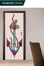3D Door Decal Door Stickers, Nautical Rope and Hearts Door Stickers Door Wallpaper for Home Décor, 30.3W x 78.7H Inches