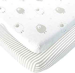 Baby Cradle Sheets Fitted 18x36x2 - Compatible with Arms Reach Co Sleeper Cambria, Clear Vue, Mini Ezee, Bassinet - Pure Jersey Cotton - Breathable | Unisex