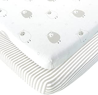 Baby Cradle Sheets Fitted 18x36x2 - Compatible With Arms Reach Co Sleeper Cambria, Clear Vue, Mini Ezee, Miclassic Bassinet - Pure Jersey Cotton - Breathable | Unisex