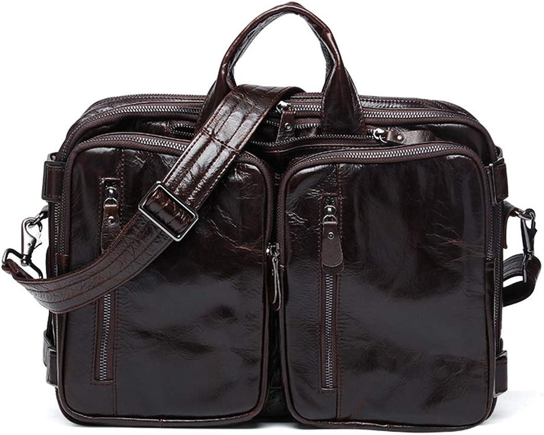 Leather Laptop Backpack 15 Inch, Multifunctional Business Handle Bag,Classic Vintage Cross Body Messenger Shoulder Bag Father's Day Gift,Brown,26cm40cm12cm