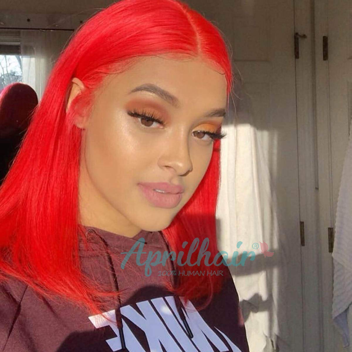 Aprilhair Pre-plucked Grey Bob Lace Front Wigs Straight Glueless 150% Density Short Cut Brazilian Virgin Human Hair With Baby Hair Full And Thick Free Part (12 Inch, Red Color)