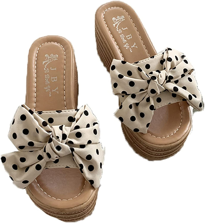 Women Platform Slippers for Summer Fashion Wave Point Bow Tie Comfy Backless Sandals Peep Toe Slip-On Poor Slides