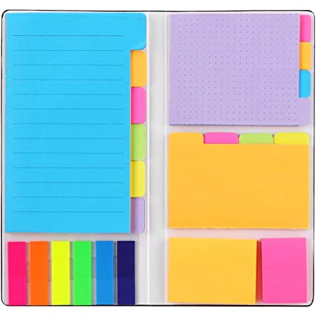 Sticky Notes Set, Hommie Colored Divider Self-Stick Notes Pads Bundle, Prioritize with Color Coding, 60 Ruled (3.7x6), 48 Dotted (3.7x3), 48 Blank (3x3.7), 48 Per Rectangular, 25 Per PET Color